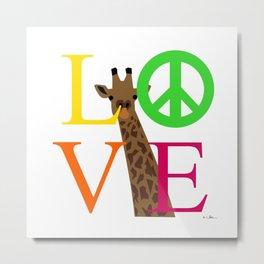 Peace love giraffe Metal Print