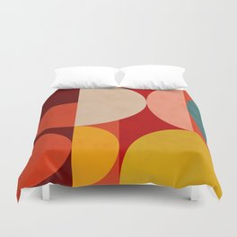 shapes of red mid century art Duvet Cover
