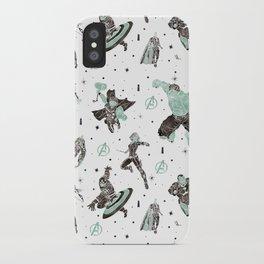 avenger pattern screenprint iPhone Case