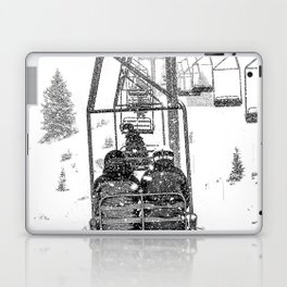 Snow Lift // Ski Chair Lift Colorado Mountains Black and White Snowboarding Vibes Photography Laptop & iPad Skin