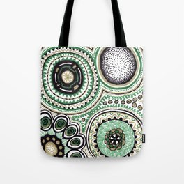 Green and Gold Rings Tote Bag