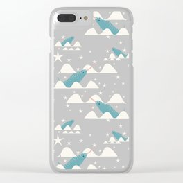 narwhal in ocean grey Clear iPhone Case