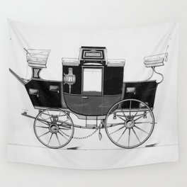 Vintage Horse Carriage Illustration (1877) Wall Tapestry