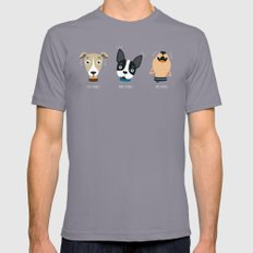 Three wise dogs Mens Fitted Tee SMALL Slate