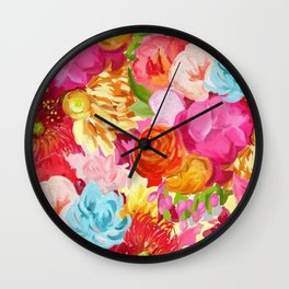 Red And Orange Flowers On Pink Background Wall Clock