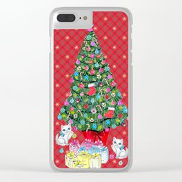 Christmas tree with cats / red tartan, plaid, kittens, holidays, christmas gift, Clear iPhone Case