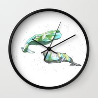 whales Wall Clocks featuring Whales by Wowsujina