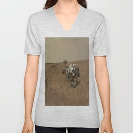 NASA Curiosity Rover's Self Portrait at 'John Klein' Drilling Site in HD Unisex V-Neck