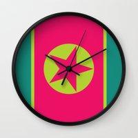 korea Wall Clocks featuring Neon Nation NORTH KOREA by T.K.O.
