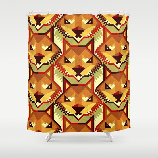 The Bold Wolf pattern Shower Curtain