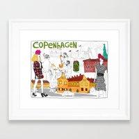copenhagen Framed Art Prints featuring Copenhagen by Nanu Illustration