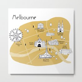 Mapping Melbourne - Yellow Metal Print
