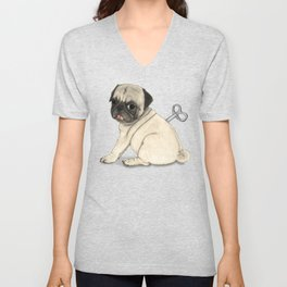 Toy dog; Pug Unisex V-Neck