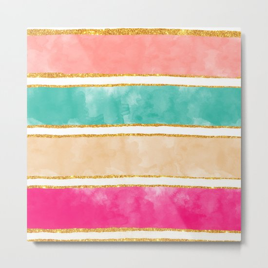 Modern Stripes Pink Red Watercolor Gold Glitter Metal Print