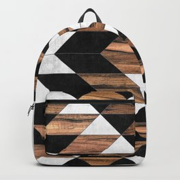 Urban Tribal Pattern No.9 - Aztec - Concrete and Wood Backpack