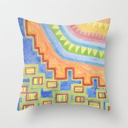 Striped Bungalows in the bright Sunlight Throw Pillow