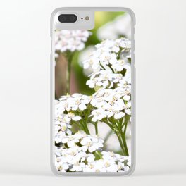 White Wildflowers Clear iPhone Case
