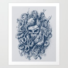 Mermaid Skull 2 Art Print