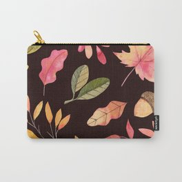 Hand painted pastel pink green brown watercolor leaves Carry-All Pouch
