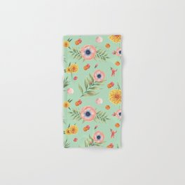 Hand painted coral yellow watercolor geometric floral Hand & Bath Towel