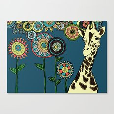 Giraffe with abstract flowers Canvas Print