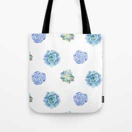 Bue and gren succulents pattern Tote Bag