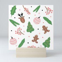 Christmas pattern in pink Mini Art Print