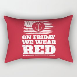 On Friday We Wear Red Navy Military Rectangular Pillow
