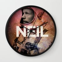neil gaiman Wall Clocks featuring Neil. by David