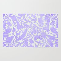 shabby chic Area & Throw Rugs featuring Shabby Chic purple damask by Miriam Hahn