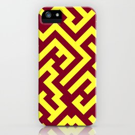 Electric Yellow and Burgundy Red Diagonal Labyrinth iPhone Case