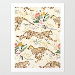 Weightless Cheetahs in Boundless Safari  Art Print