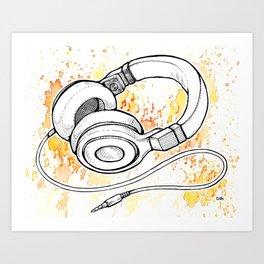 Headphones (Splash Music) Art Print