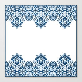 Blue lace on white background . Canvas Print