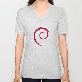 Debian Official Spiral Swirl Logo T-Shirt Unisex V-Neck