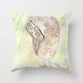 """Watercolor Painting of Picture """"Vizcachera Owl"""" Throw Pillow"""