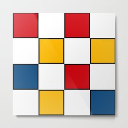 Minimal Abstract Geometric Art in Mondrian Style Metal Print
