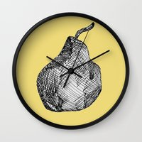pear Wall Clocks featuring Pear by Of Newts and Nerds