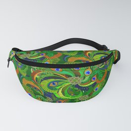 Peacock Neck Gator Green Retro Peacock Feathers Fanny Pack