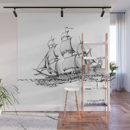 sailing ship . Home decor Graphicdesign Wall Mural