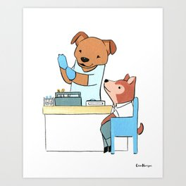 Pit Bull Phlebotomist (Dogs with Jobs series) Art Print