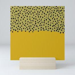 Abstract mustard mid century art Mini Art Print