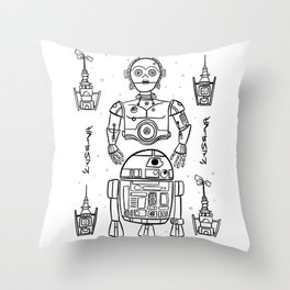 Black and White Galaxy Friends Throw Pillow