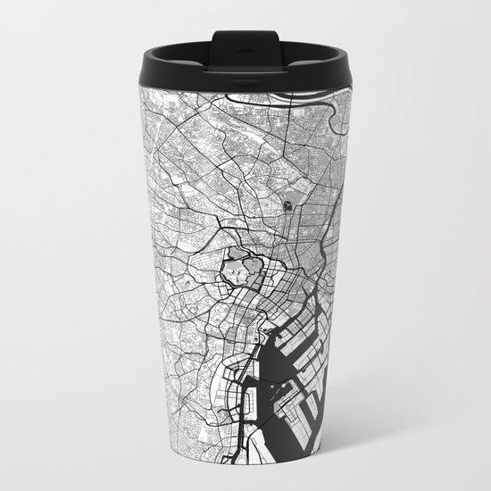 Tokyo Map Gray Metal Travel Mug