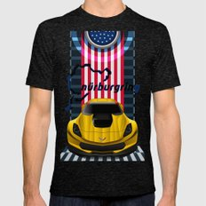 The Yellow King Corvette C7 LARGE Tri-Black Mens Fitted Tee