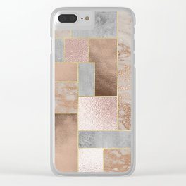 Copper and Blush Rose Gold Marble Quadrangle Geometrical Shapes Clear iPhone Case