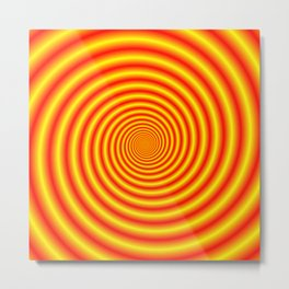 Yellow into Red via Orange Spiral Metal Print