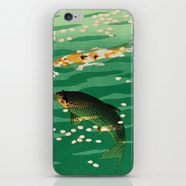 Vintage Japanese Woodblock Print Asian Art Koi Pond Fish Turquoise Green Water Cherry Blossom iPhone Skin