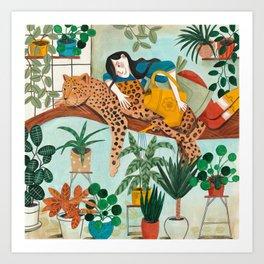 Leopard Gardening Art Print