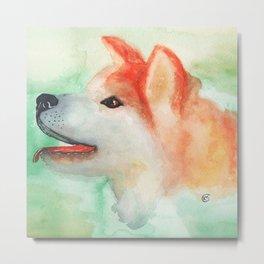 Watercolor Akita Inu dog portrait Metal Print